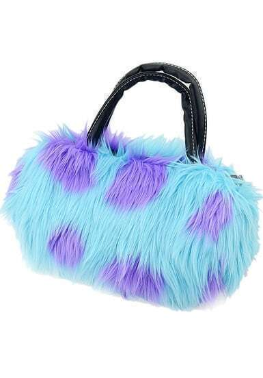 Blue Faux Fur Shoulder Bag