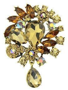 Yellow Drop Diamond Brooches