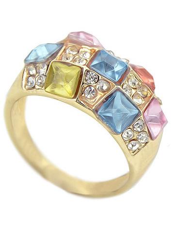 Multicolor Diamond Gold Ring