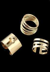 Gold Three Pieces Ring