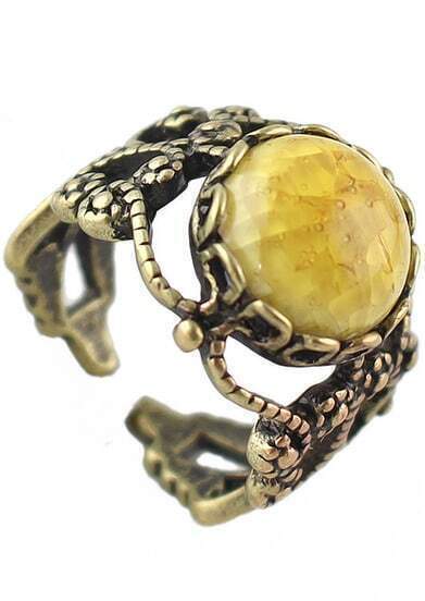 Yellow Gemstone Retro Gold Hollow Ring