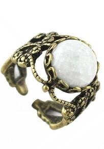 White Gemstone Retro Gold Hollow Ring