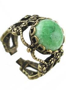 Green Gemstone Retro Gold Hollow Ring
