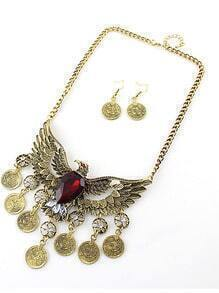 Red Gemstone Gold Eagle Tassel Necklace With Earrings