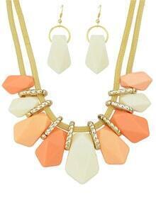 Orange Ombre Gemstone Necklace With Earrings