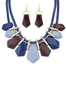 Blue Ombre Gemstone Necklace With Earrings