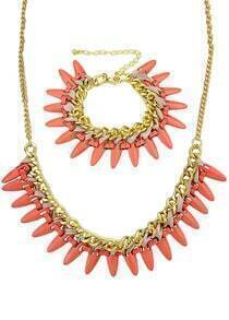 Gold Chain Spike Necklace With Bracelet