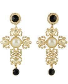 Black White Gemstone Gold Hollow Earrings