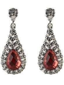 Silver Gemstone Drop Earrings