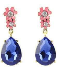 Blue Gemstone Gold Drop Earrings