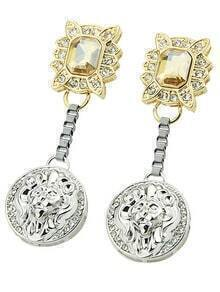 Gold Gemstone Round Earrings