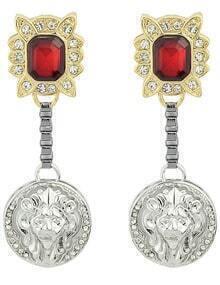 Red Gemstone Round Earrings