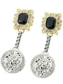 Black Gemstone Round Earrings