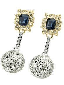 Blue Gemstone Round Earrings