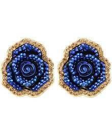 Gold Blue Rose Stud Earrings
