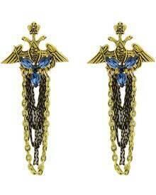 Gold Gemstone Wing Chain Earrings