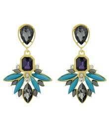 Blue Gemstone Gold Earrings