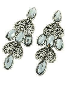 Grey Drop Gemstone Silver Heart Earrings
