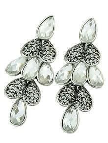 White Drop Gemstone Silver Heart Earrings