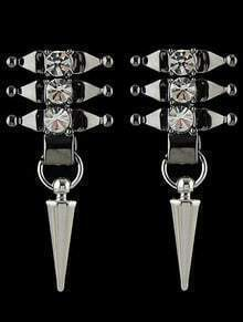 Silver Diamond Spike Earrings