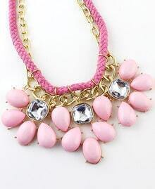 Pink Drop Gemstone Chain Necklace