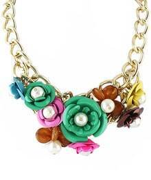Multicolor Bead Flower Chain Necklace
