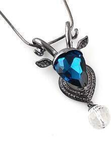 Blue Gemstone Silver Sheep Necklace