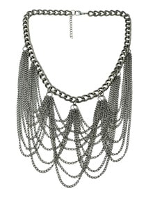 Silver Chain Tassel Necklace