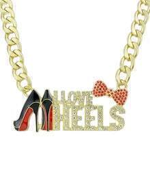Gold Diamond Shoes Bow Necklace