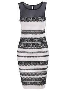 Ivory Sleeveless Monteau Tahari Lace Bodycon Dress