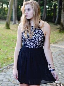 Black Spaghetti Strap Backless Lace Crochet Mini Dress