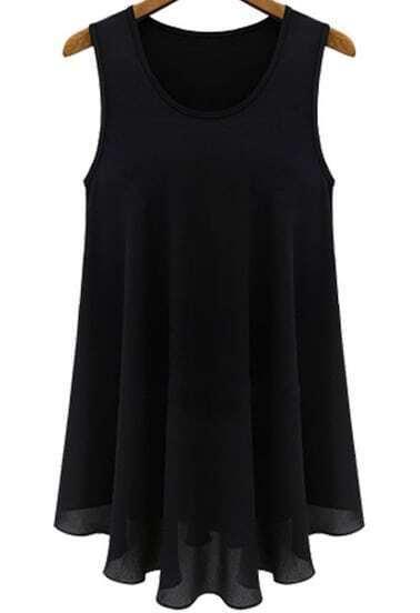 Black Sleeveless Round Neck Chiffon Dress