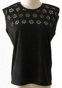 Black Round Neck Hollow Loose T-Shirt