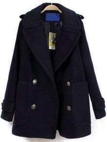 Navy Double Breasted With Pocket Woolen Coat
