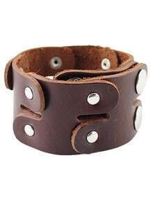 Brown Buttons Leather Bracelet