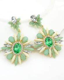 Green Flower Gemstone Gold Earrings