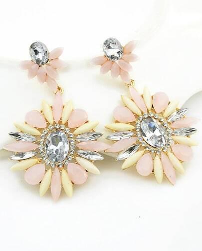 White Flower Gemstone Gold Earrings
