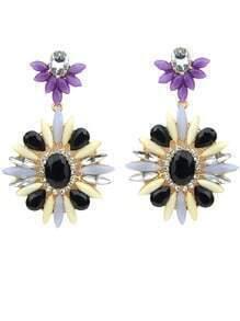Black Flower Gemstone Gold Earrings