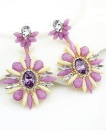 Purple Flower Gemstone Gold Earrings