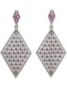Red Diamond Silver Dangle Earrings