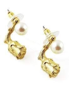 Gold Pearl Rose Stud Earrings