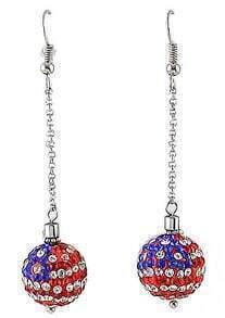 Red Ball Diamond Silver Earrings