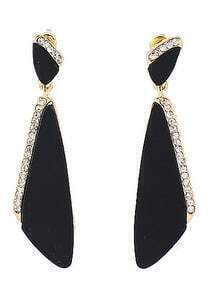 Black Triangle Diamond Dangle Earrings