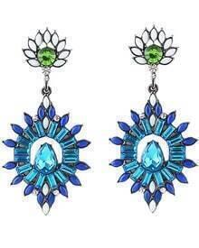 Blue Drop Gemstone Silver Earrings