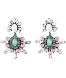 White Round Gemstone Silver Earrings