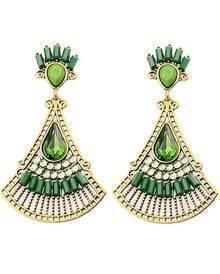 Green Fan-Shaped Gemstone Gold Earrings