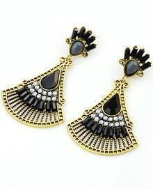 Black Fan-Shaped Gemstone Gold Earrings
