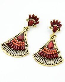 Red Fan-Shaped Gemstone Gold Earrings