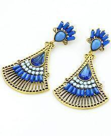 Blue Fan-Shaped Gemstone Gold Earrings