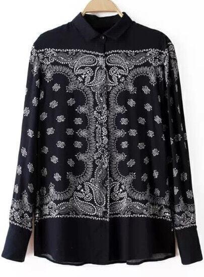 Black Long Sleeve Vintage Floral Blouse
